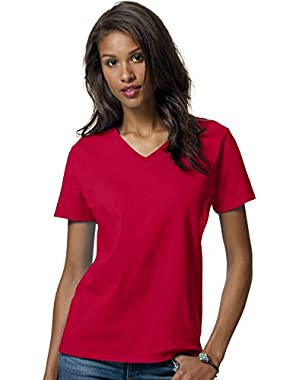 HN LAD COMFRT SOFT VEE NECK T (DEEP RED) (M)