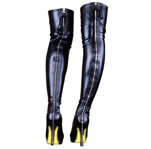 YMXJB Talons femmesÉtirement de l'Europe sur les genou hautes bottes tube éclair haut talon bottes, bottes pour dames