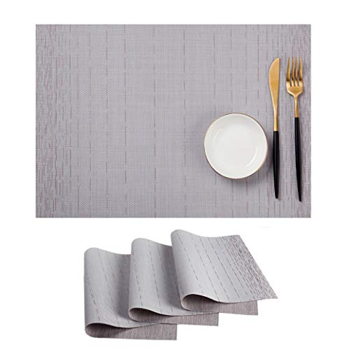 (SHINYKDY Gray Placemats Set 4 Crossweave Vinyl Washable Anti-Stain Placemat (Silver Table Mats))