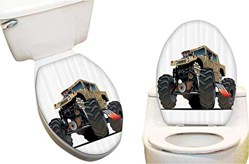 """Toilet Seat Decal Extremely Large Giant Mster Pickup Truck with Huge with Oversized Tires Racing Toilet Vinyl Decal 13""""x13"""""""