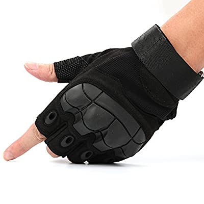 Gimiton Military Tactical Shooting Gloves Hard Knuckle Half Finger Fingerless Gloves For Hiking Camping Motorcycle Airsoft Paintball