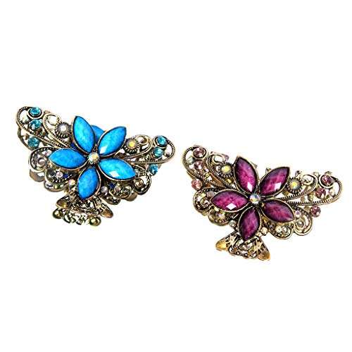 2pcs Women Metal Butterfly Flower Rhinestone Hair Claw Clamps Clip Accessory