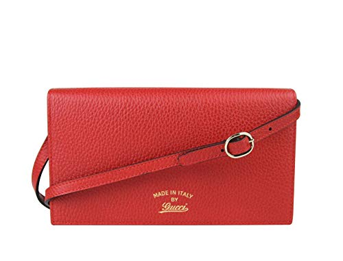 Gucci Women's Swing Red Leather Crossbody Clutch Wallet 368231 6523