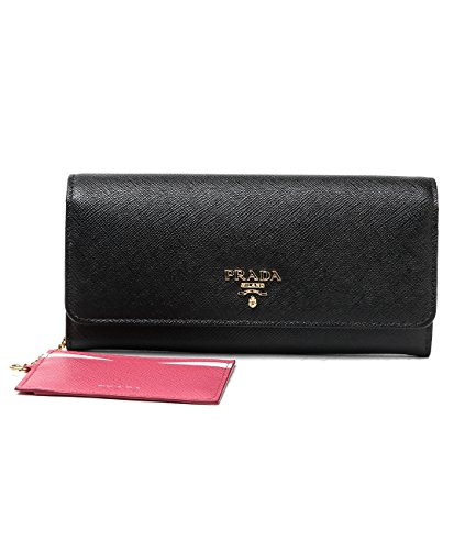 Wiberlux Prada Women's Metal Logo Detail Contrast Interior Long Wallet
