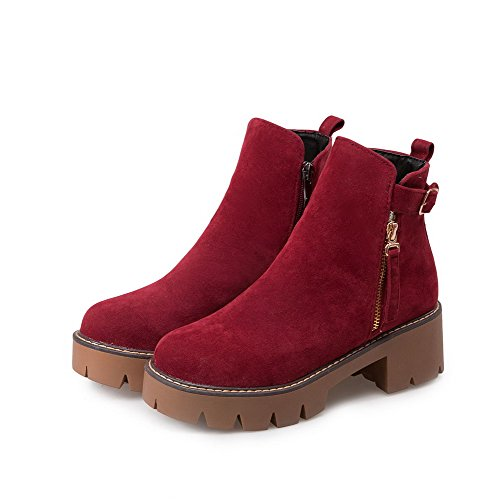 Imitated Low Solid Boots Closed Red Allhqfashion Women's Top Heels Kitten Toe Round Suede aSxzAnqf