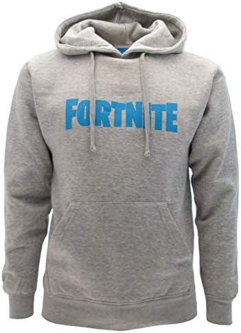 Fortnite - Sudadera original gris con logotipo azul y capucha para ...