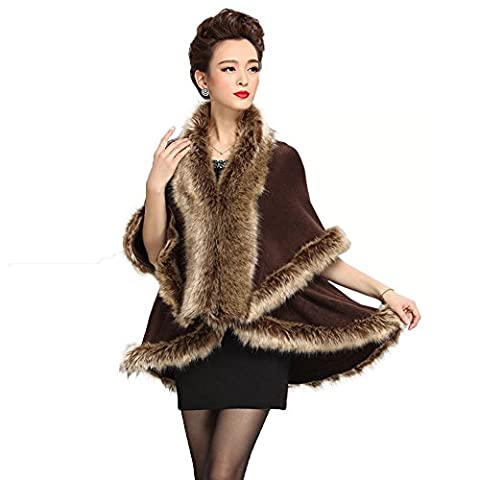 Caracilia Women Faux Fur Collar Poncho Cape Stole Wrap Cloak Coat Brown2 CA98 - Fur Trimmed Knit Jacket