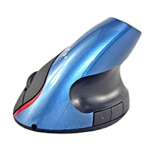 J-DEAL® Wireless Ergonomic Vertical Optical Mouse with Wrist Pain Comfort for with 800dpi for Laptop Computer Tablet PC Windows 98/Me/2000/XP/Vista/Win 10 (Blue)