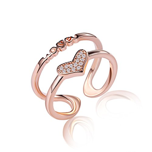 KOREA-JIAEN Love Ring 18K Rose Gold Plated Base Double-deck Heart Ring Setting CZ Gems Opening Ring (Rose gold)
