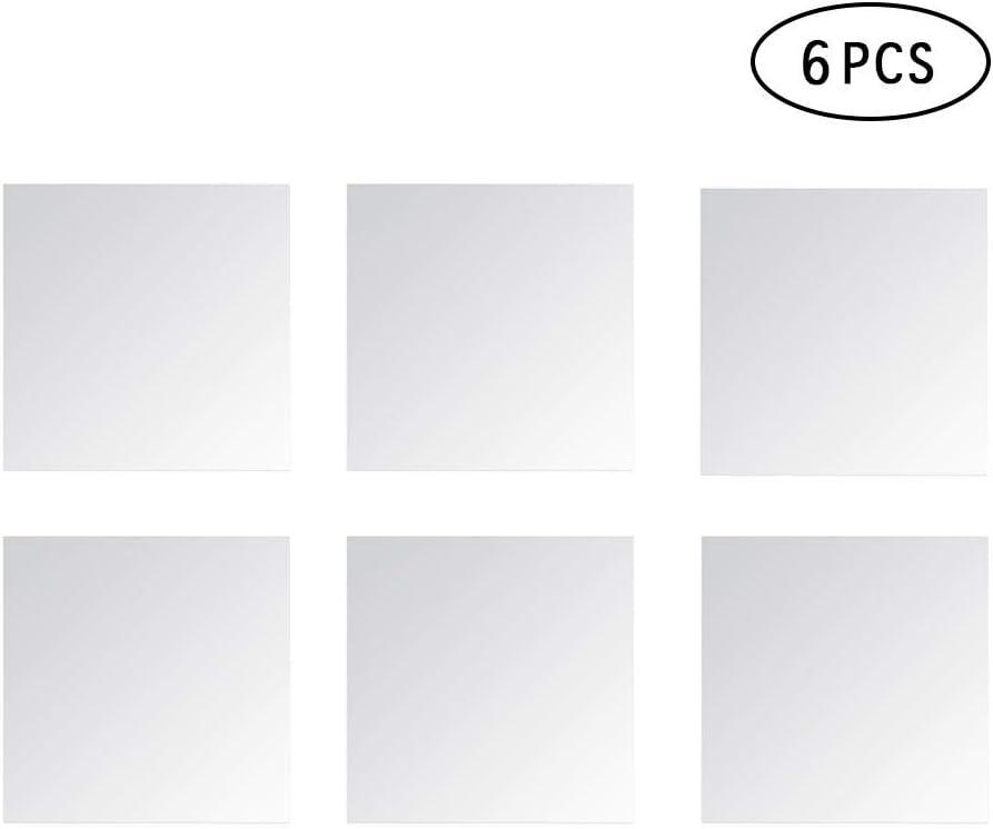 AOLVO Flexible Spiegelfolien quadratisch Badezimmerspiegel Wandaufkleber 6 St/ück selbstklebend verspiegelte Fliesen f/ür Heimdekoration