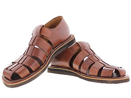 9f09aa508cdb Cowboy Professional Men s 507 Rustic Cognac All Real Leather Mexican Buckle  Huaraches Closed Toe