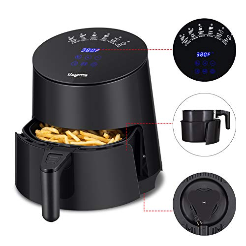 Air Fryer, Bagotte 3.7 QT 1500W Power Air Fryer Oven, Fast Cook Electric Airfryer with Programmable Digital Full Touch Panel, Anti-peeling Non Stick Coating, 40 Recipes for Healthy Oilless Roasting