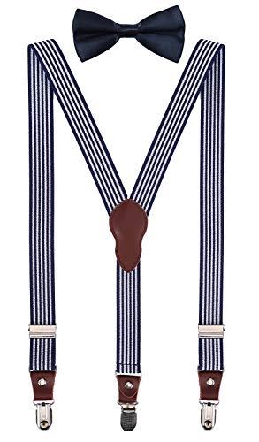 90088999dfa8 Shark Tooth Boys' Men's Suspenders and Bow Tie Set Y-Back Elastic Adjustable