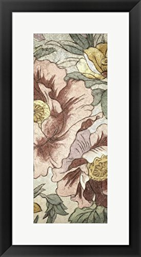 Great Art Now Earthtone Floral Panel I by Catherine Kohnke Framed Art Print Wall Picture, Black Frame, 15 x 27 - Floral Earthtone Panel