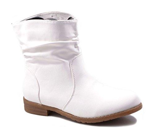 Jumex Damen Stiefeletten Cowboy Western Stiefel Boots Flache Schuhe HP86 Weiß
