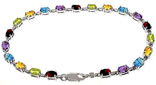 QP joailliers Bracelet avec naturel en or blanc 9carats, 5.46CT Coupe ovale-3562W