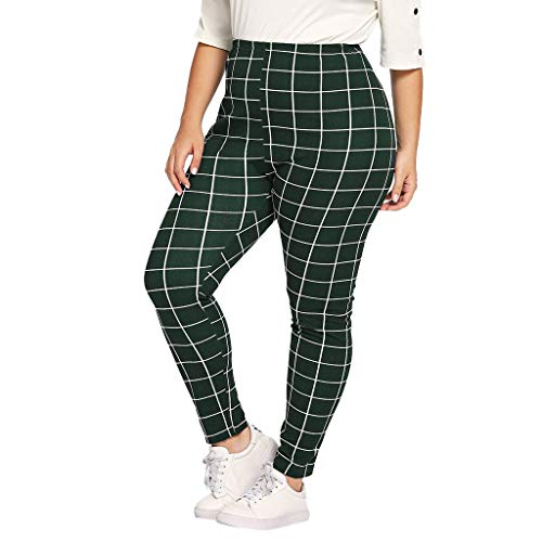 JOFOW Leggings Womens Skinny Plaid Checkered Print Casual Long Pencil Pants High Waist Stretch Elegant Trousers Plus Size (2XL,Army Green) ()