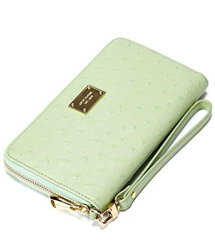 EMINI HOUSE Women Wallet Ostrich Grain Genuine Leather Clutch Wallet Card Holder Organizer Ladies Purse Zipper Long Wallet-Green