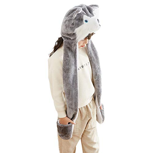 PULAMA Novelty Animal Cosplay CAP - Warm Headwraps with Mittens (Husky) -