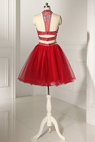 Homecoming Two Halter Formal Piece MARSEN Tulle Beaded Short Burgundy Dresses Prom Gown fdcOqZ