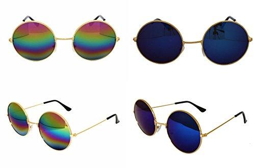 gafas Hermoso Hippie diseño último de Azul antirreflejos lente redondas estilo gafas Unisex sol RXOXTqFr