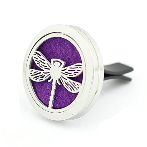 JOYMIAO Car Fragrance Diffuser Vent Clip Car Air Freshener Perfume Aromatherapy Essential Oil Diffuser Stainless Steel Locket Dragonfly