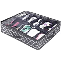 Homyfort Under The Bed Shoe Storage Organizer for Closet Solution, Racks Container with Front Zippered Closure,Clear Cover Store 12 Pairs (Lantern Printing Fabric Under The Bed Shoe Storage)