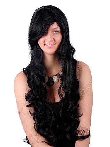 (32 inch Black Cosplay Wigs Long Curly Big Wavy Hair Ends Halloween Costume Cosplay Party Heat Resistant Wigs for Women With Full Bangs and Wig)