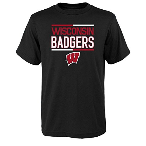 Wisconsin Badgers Youth NCAA Flag Runner T-Shirt - Black, Youth X-Large