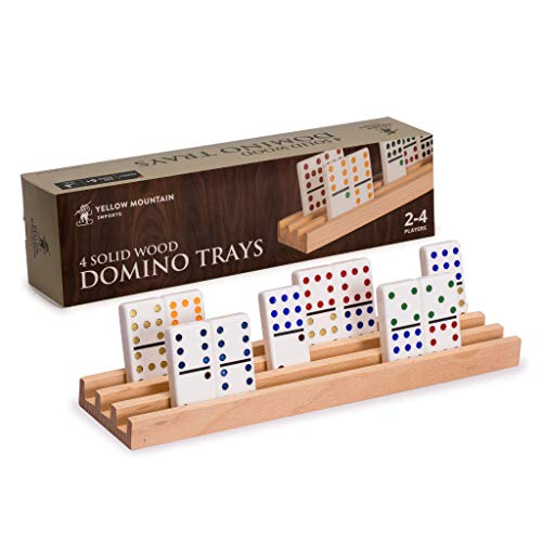 Yellow Mountain Imports Domino Racks/ Trays (Set of 4) - Premium Beechwood - Durable - Handcrafted for Ideal Domino Trays - Smooth Surface for No Splinters - Dominos NOT Included (Make A Word From These Letters Scrabble)
