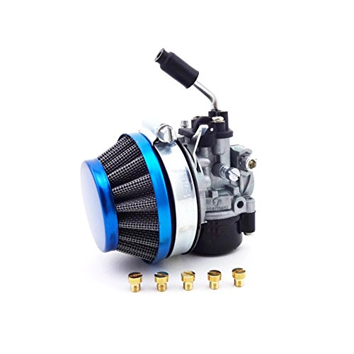 TC-Motor Gas Motorized Bicycle Push Bike Racing Carb Carburetor + Blue 58mm Air Filter + Carburetor Jets For 49 50cc 60cc 66cc 80cc 2 Stroke Engine