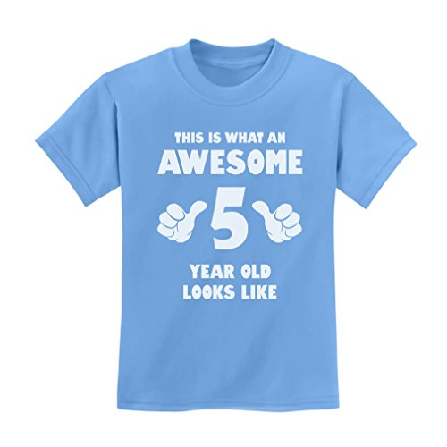 TeeStars - This is What an Awesome 5 Year Old Looks Like Funny Kids T-Shirt Large California Blue ()