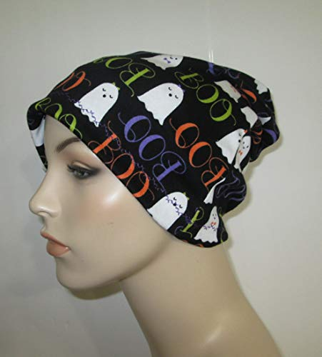 Womens Chemo Halloween Boo Beanie Chemo Hat Alopecia Cancer Hat