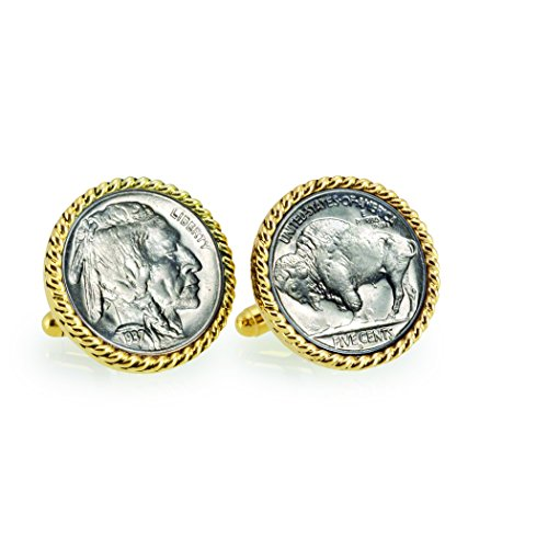 American Coin Treasures Buffalo Nickel Goldtone Rope Bezel Coin Cuff Links