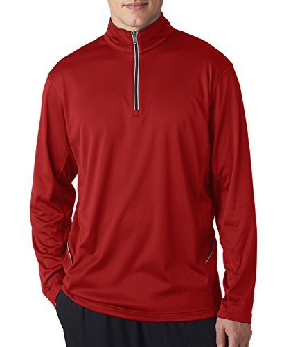 Unisex UltraClub 8230 Adult Cool & Dry Sport 1/4-Zip Pullover Windshirt Red Medium ()