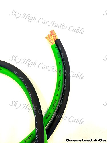 25 ft OFC 4 Gauge Oversized 12.5' GREEN & 12.5' BLACK Power Ground Wire Sky High Car