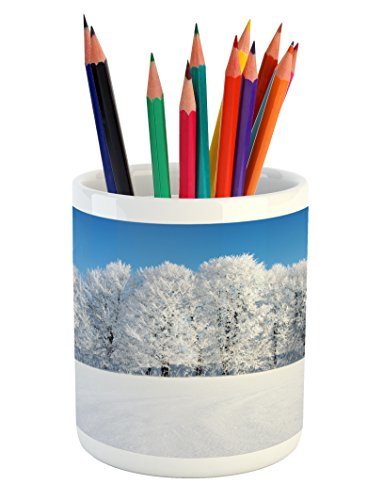 Cheap  Ambesonne Winter Pencil Pen Holder, Frosted Trees in the Forest with Snowy..