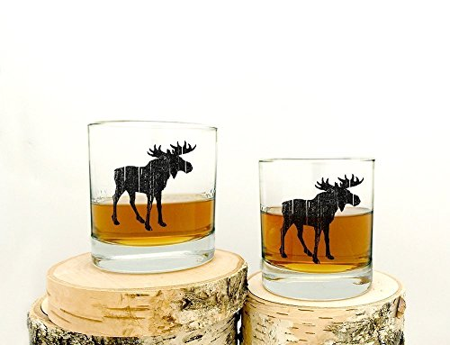 (Whiskey Glasses - Rustic Moose - Set of Two 11oz. Tumblers)