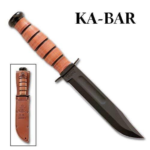 KA-BAR 1220 US Army Fighting Knife, Brown Leather Sheath, 7 in, Plain