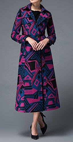 Las mujeres de moda elegante Abrigo de lana larga zanja abrigo de lana de abrigo