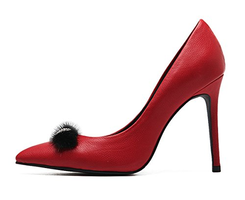 Leather Lambskin Platforms (Miyoopark LS0617 Women's Pointed Toe Bows Red Lambskin Leather Wedding DRSS Pumps Shoes US 9)