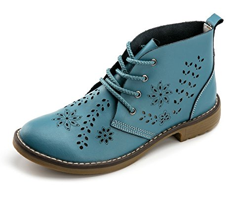 Vivident Hollow Genuine Leather Brogue Ankle Motorcycle Boots Lace up Women Fashion Classic Shoes Blue