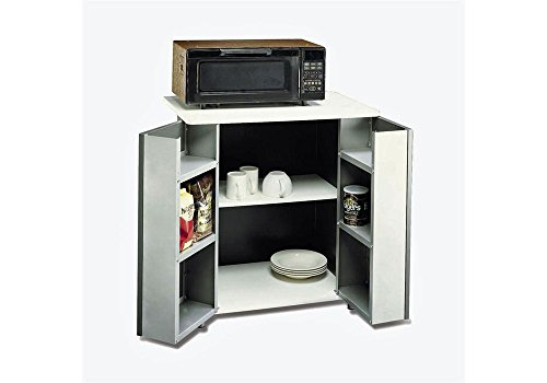 Two Door Refreshment Stand White Laminate Top/Black Metal Cabinet Dimensions: 29.5