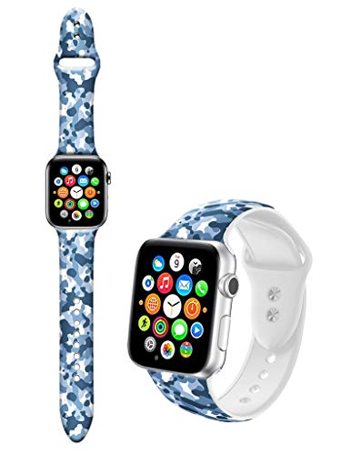 Dseason Sport Bands Compatible with Apple Watch Series 4/3/2/1, Premium Silicone Strap Compatible with iWatch 42mm / 44mm, Blue-Gray Camouflage ()