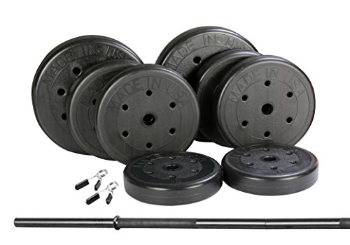 US Weight 100 lb. Traditional Barbell Weight Set with New Upgraded Bar and Spring Locking Clips - Includes 20, 20 and 8 lb. Weights