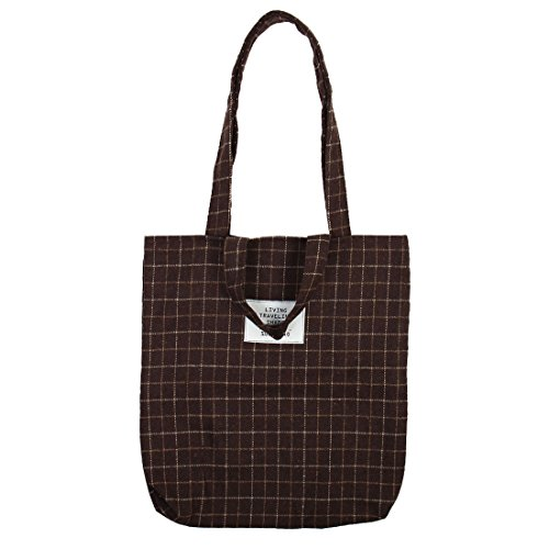 uxcell Travel Cosmetic Books Holder Sundries Storage Plaid Pattern Handbag Messenger Shoulder Tote Bag Brown