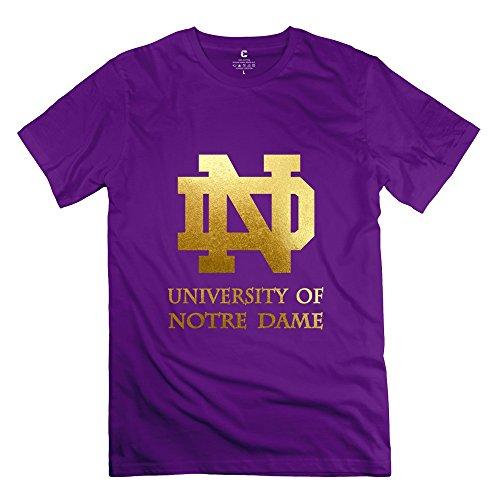 (Men's University Of Notre Dame Logo Screw Neck T-shirt Size S Purple)