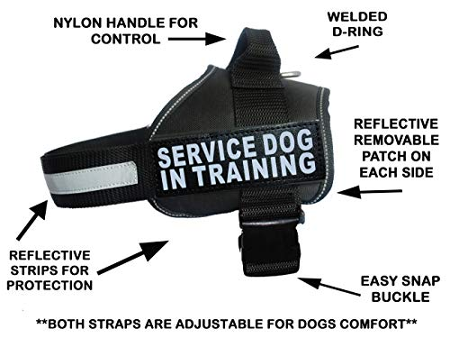 (Servcie Dog in Training Nylon Dog Vest Harness. Purchase Comes with 2 Reflective Service Dog in Training Velcro pathces. Please Measure Your Dog Before Ordering (Girth 19-25