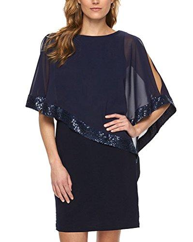 Mujer Chal Lentejuelas Vestido Cuello Redondo Color Sólido Falda Del Vestido Azul