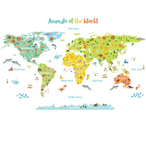 Decowall DL-1815 Animals of The World Kids Wall Stickers Wall Decals Peel and Stick Removable Wall Stickers for Kids Nursery Bedroom Living Room ()